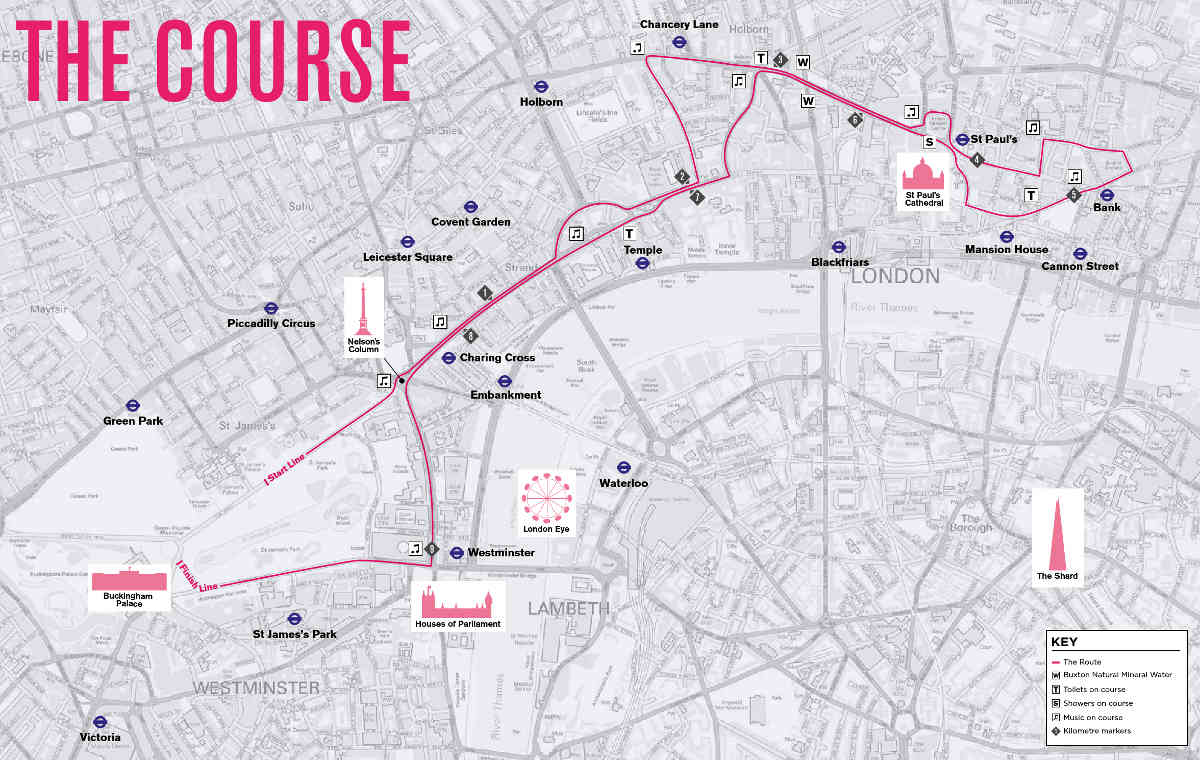 London 10,000 Course Map