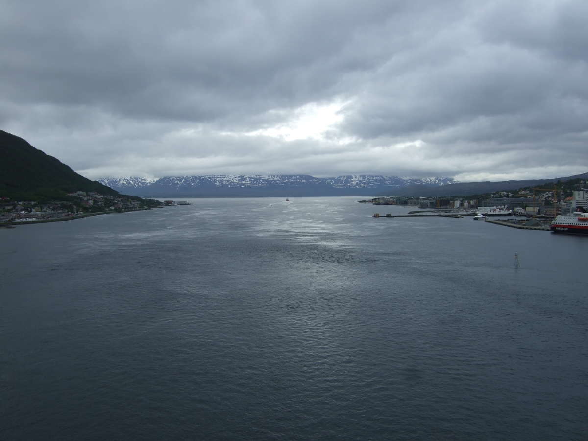 View from Tromso Bridge on a cloudy day