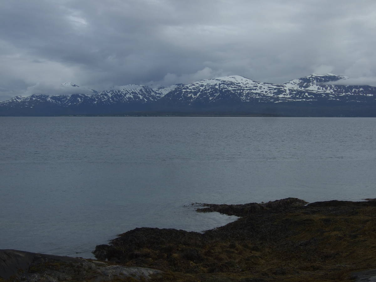 Tromso: clouds, mountains and fjord